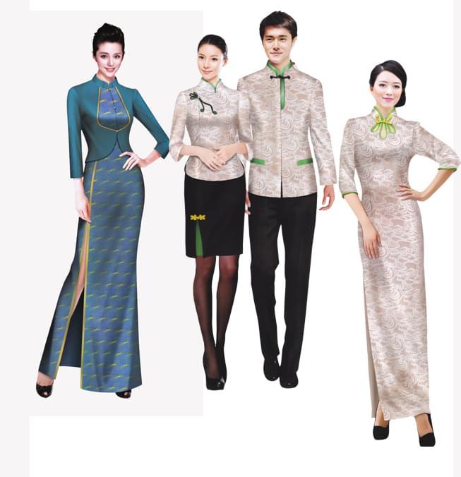 中式服务员服装图片