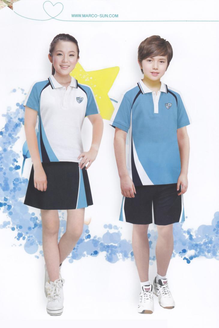 夏季短袖校服套装-蓝色校服运动服-青岛韵蔓校服